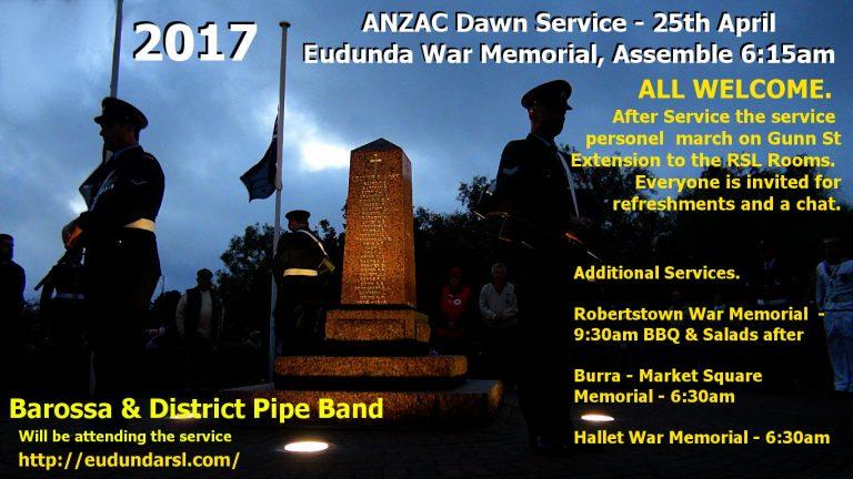 ANZAC Day 2017 – Service Times