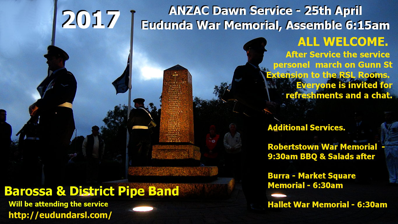 ANZAC Dawn Service Flier - Eudunda - Memorial & Cuppa & Other services in region