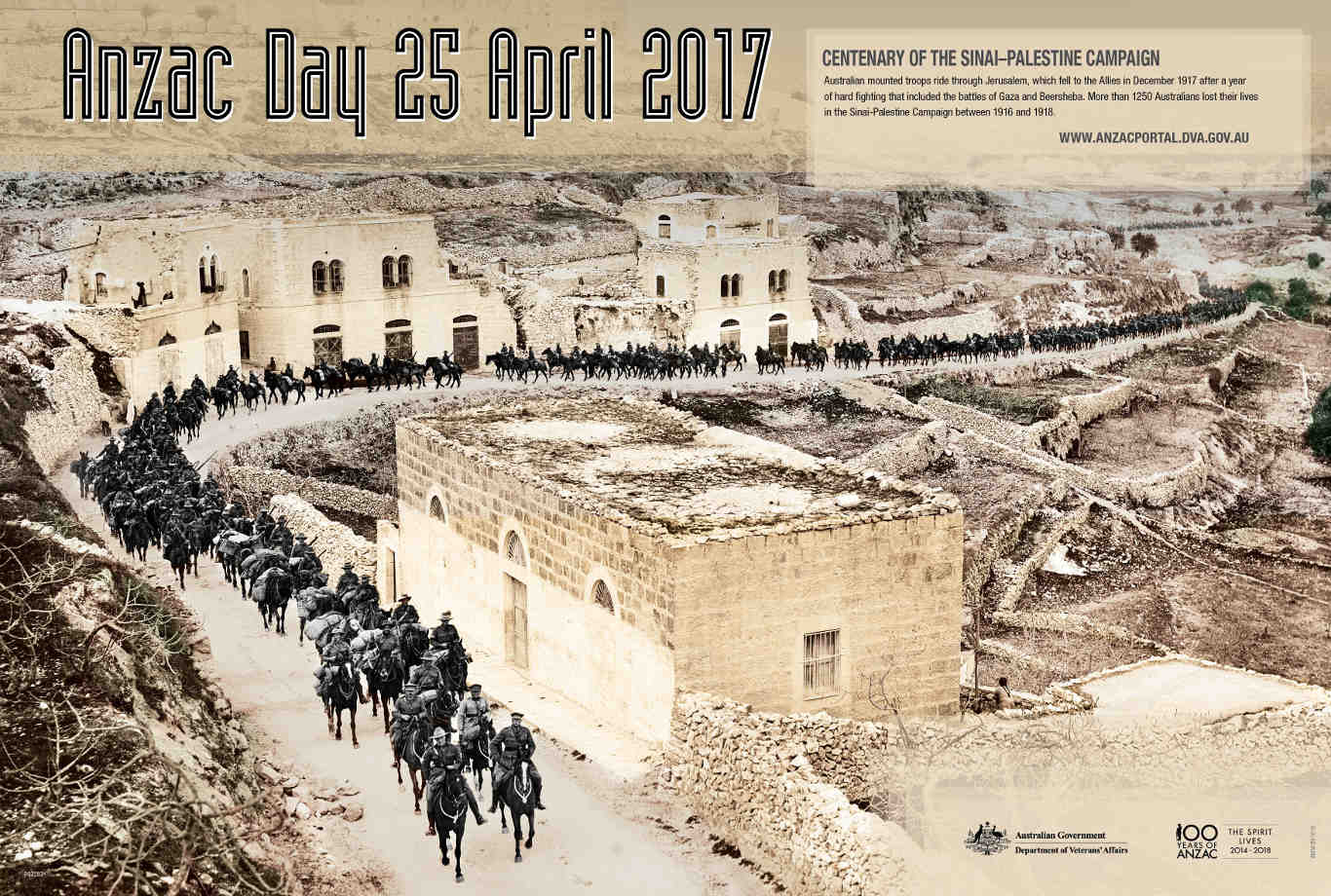 Anzac Day Poster 2017 - 24 Sinai-Palestine - Australian Mounted Troops ride through Jerusalem