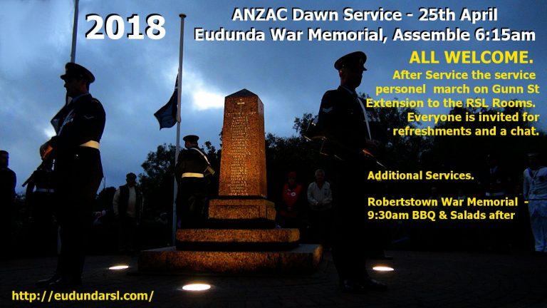 ANZAC Day 2018 – Service Times