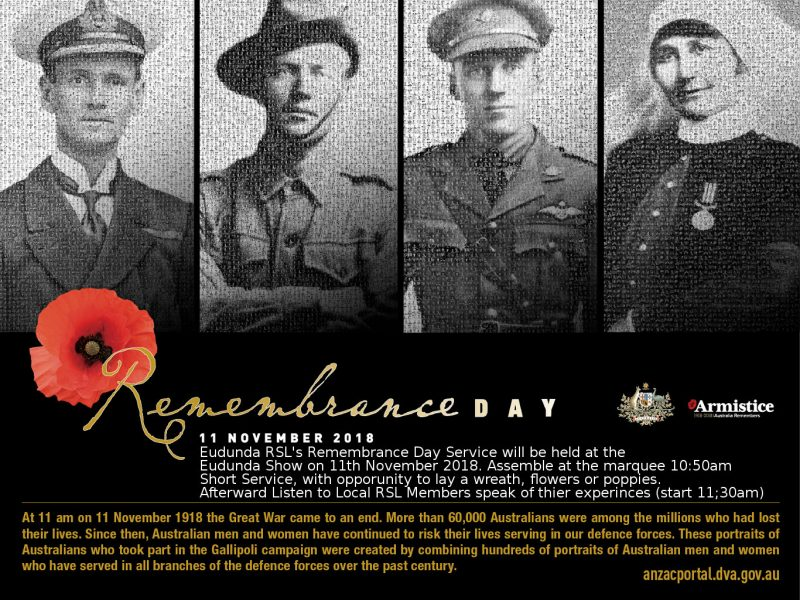 Remembrance Day 2018 poster Eudunda Details