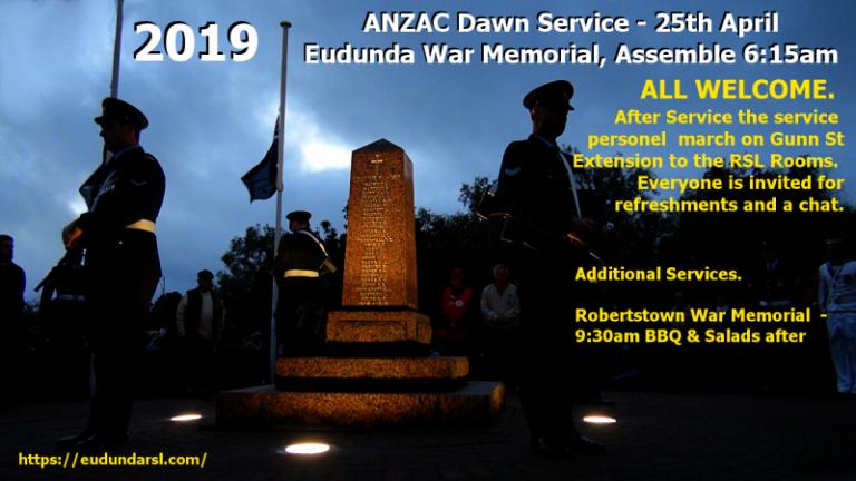 ANZAC Day 2019 – Service Times