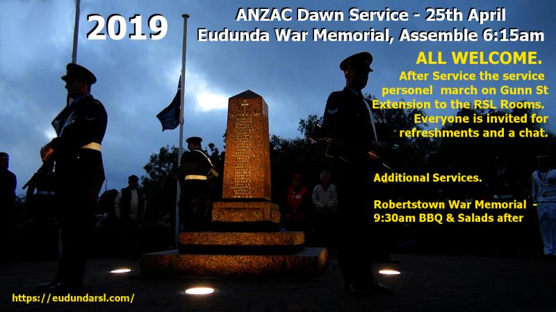ANZAC Dawn Service Flier - Eudunda 2019