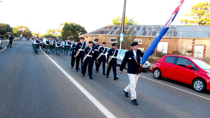 Service Personnel March to the Eudunda RSL Rooms after the ANZAC Dawn Service