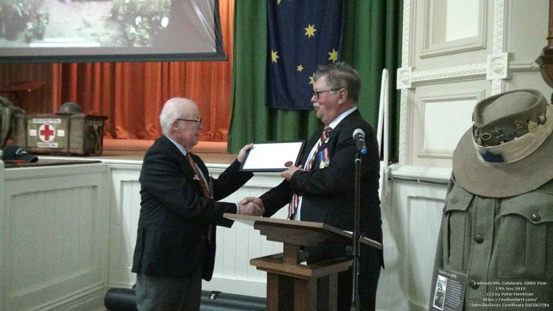 John Receives Certificate From RSL SA in recognition of 100 Years since formation